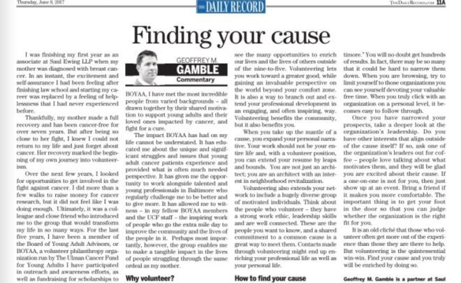"""Finding Your Cause""- BOYAA member, Geoff Gamble, published in the Daily Record"